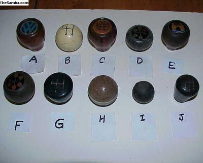 VW shift knobs, 10 different, Bug, Bus, Ghia