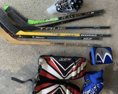 Road hockey gear and net (see pic)