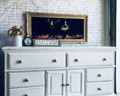 """Farmhouse Distressed Buffet/Console/ Storage-68""""x35""""x19""""-refinished in cream-Wood-220$ Laval"""