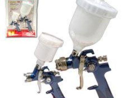 2pc Air Hvlp Gravity Feed Spray Gun Automotive Compressor Auto Painting Tools