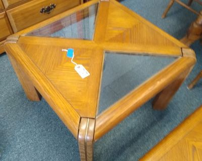 Oak and Glass End Table