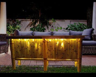 Bamboo Tiki Bar, patio table, outdoor bar, Tropical deck table