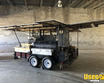 2000 - 6.8' x 12.5' Open BBQ Tailgating Smoker with Trailer for Transport