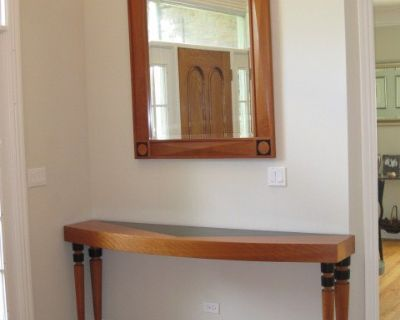 Custom Estate Cherry Wood Entry Table and Mirror Set