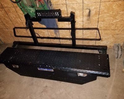 Truck tool box with key and headache rack light not included