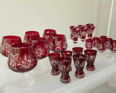 Polish Vintage hand cut crystal glasses