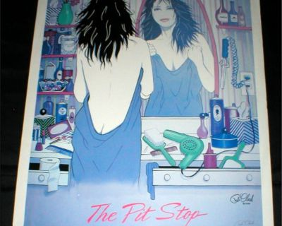 """""""The Pit Stop"""" Art Poster - Signed - Great Poster for Beauty Salon, Bathroom, etc"""