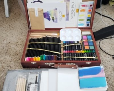 New oil pastels, watercolors, brushes, colored pencils,wood case 40OBO