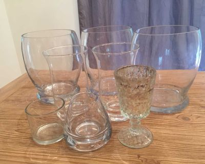GLASS VASES & CANDLE HOLDERS INCLUDING MERCURY GLASS ( LOT)