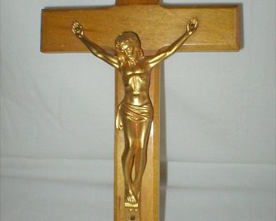"Crucifix - 12"" Tall - Wood with 4"" x 5"" Metal Body of Christ"