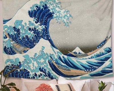 Great wave kanagawa polyester tapestry