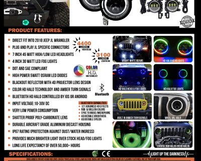 Quake LED does it again! - Jeep JL Wrangler RGB HD Halo Headlights and Fog Lights NOW in STOCK!