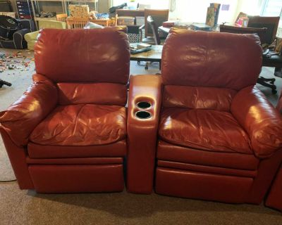 Red Custom Leather (4) Recliners (2) swivel chairs