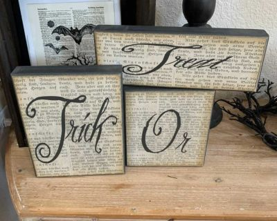 3 piece Trick or treat large wood block signs