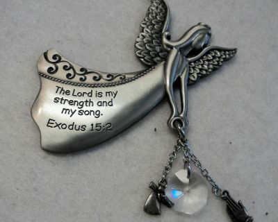 The Lord Is My Strength Guardian Angel Prism Car Charm Rear View Mirror Ornament