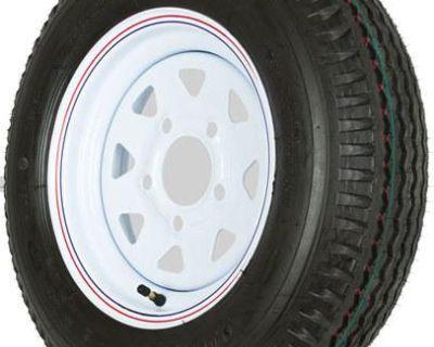 5.30 X 12 White 5 Bolt Trailer Wheel-rim + Kenda Loadstar Tire-530 Wheel-5.30x12