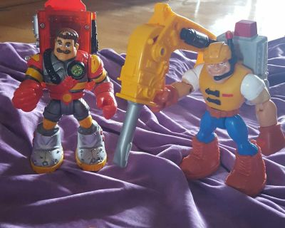 2 Vintage Fisher Price Rescue Heroes 1999/2000 Sergeant Siren and 1997 Jack Hammer Both With Packs