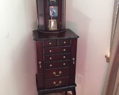 Redwood Jewelry cabinet with matching handing Curio
