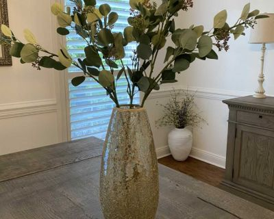 Pier One Gold Glass Mosaic Vase with 3 Faux Eucalyptus Plant Stems $30. X posted.