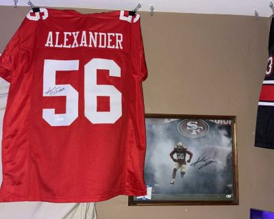 49ers Kwon Alexander 11x17 and jersey both autographed