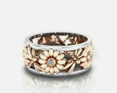 Sunflower Dragonfly Ring Size 7-10