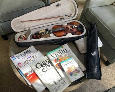 Violin with stand, books and all accessories