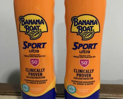 2 NEW Banana Boat Ultra Sport Sunscreen Lotion SPF 50+, 8 oz. cost $8 plus tax each at Walmart. Asking $6 for one or both for $10.