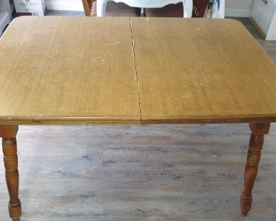 Solid wood dining table.