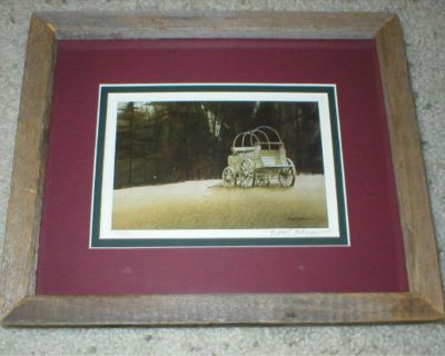 Old Wagon Vintage Art Print - Signed & Numbered - Rustic Frame w/ Mat
