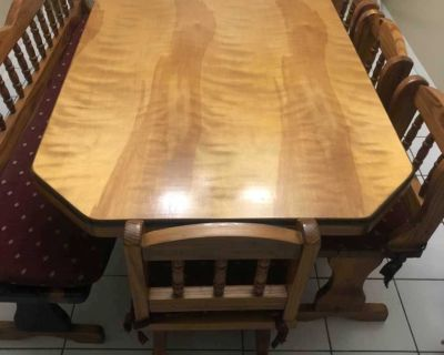 6ft solid wood table 5 chairs, bench & cushions