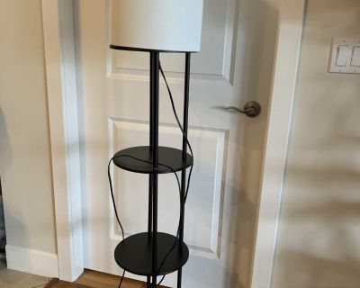 Floor lamp with three shelves