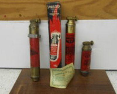 "Vintage "" Presto"" mini brass fire extinguishers"