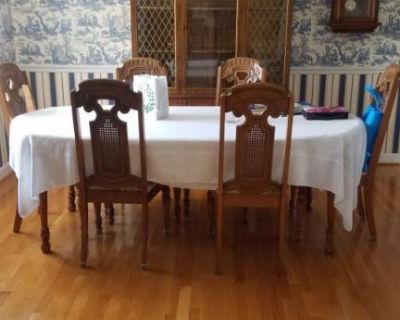 China Cabinet and Dining Table with 6 Chairs.