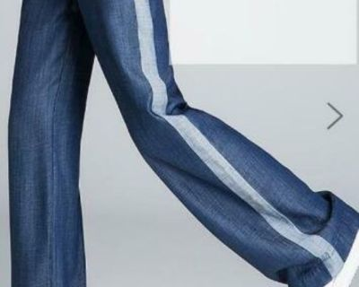 BCBG Woment's Casual Solid High-Rise Wide Leg Pants