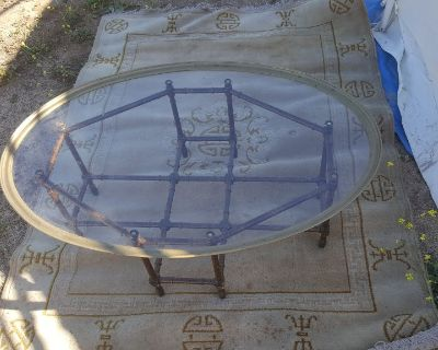 Antique Brass Rimmed Oval Glass Coffee Table