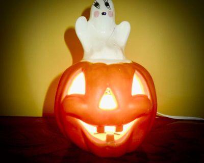 Ceramic Jack-O-Lantern & Ghost Light