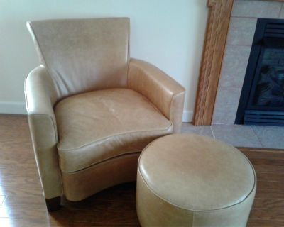Lovely matching leather couch, chair, and ottoman