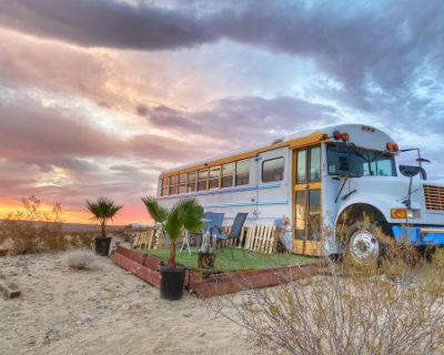 Unique Design School Bus Converted located in 100 acres, Joshua Tree, CA