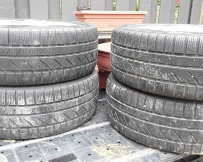 """Set of Four 5x100 VW """"Eraser"""" Style Wheels, Mounted On Winter Tires"""