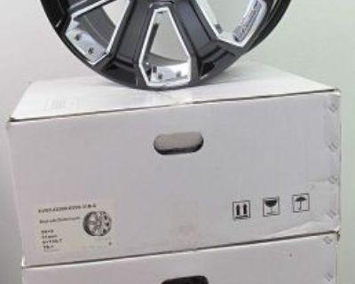 "22"" New Gmc Yukon Sierra Chevy Silverado Suburban Black Chrome Wheels Rims 5660"