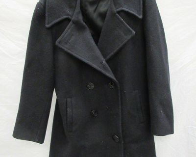 Men's Navy Issued Black Wool Pea Coat Size 36