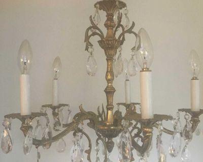Beautiful brass & crystal chandelier