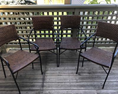 Wrought iron rattan chairs - set of 4