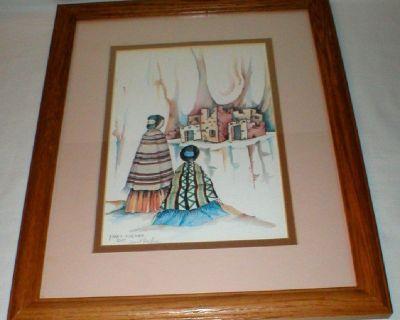 """Native American Art Print - Signed Janet Haefner - 12 1/2"""" x 15 1/2"""" Framed"""