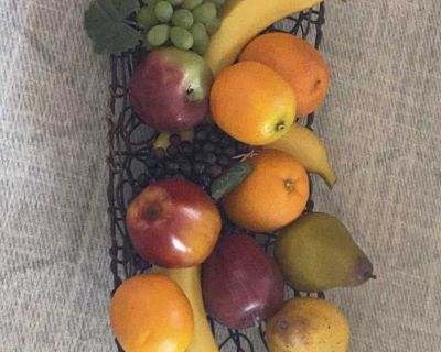 Assortment of Fake Fruit with Wire & Wood Serving Tray