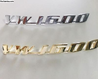 VW Volkswagen 1600 Emblem Chrome Brass Version