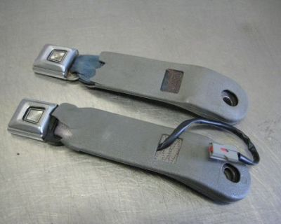 79-93 Ford Mustang Gt Lx Front Seat Belt Receivers Blue & Grey 80 81 82 83 84 85