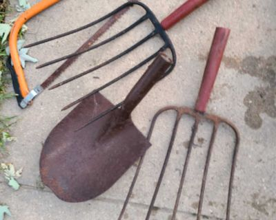 Lot of Garden Tools with No Handles