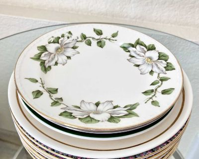 Set of 10 Assorted Porcelain Plates from Various Makers, Countries & Sizes Ca. 1930 to 1950