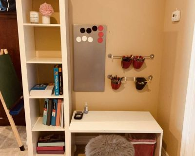 Kids desk, bookcase and magnetic board